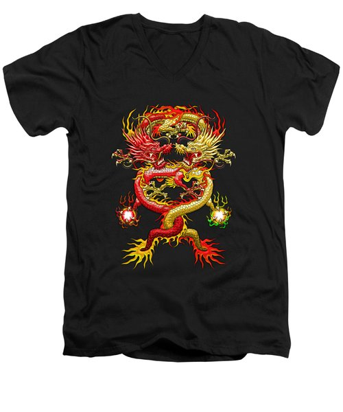 Brotherhood Of The Snake - The Red And The Yellow Dragons On Red And Black Leather Men's V-Neck T-Shirt by Serge Averbukh