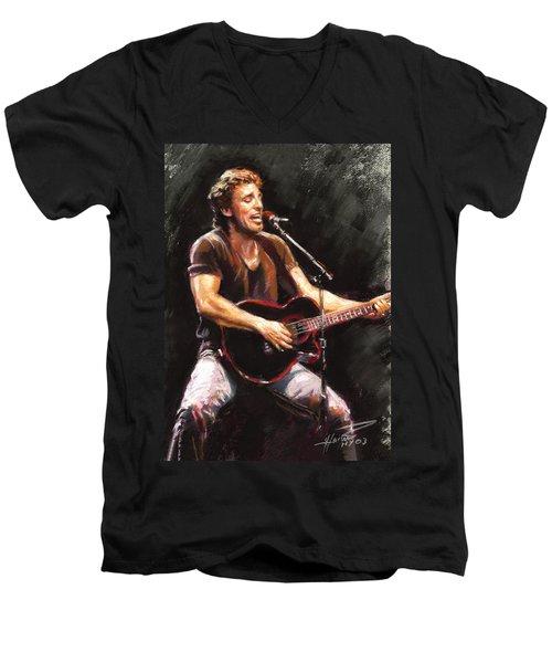 Bruce Springsteen  Men's V-Neck T-Shirt by Ylli Haruni
