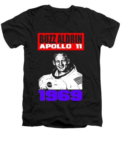 Buzz Aldrin Men's V-Neck T-Shirt by Otis Porritt