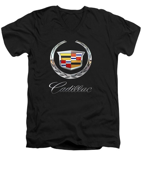 Cadillac - 3d Badge On Black Men's V-Neck T-Shirt by Serge Averbukh