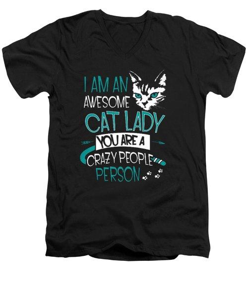 Cat Lady Men's V-Neck T-Shirt by Jackie Robinson