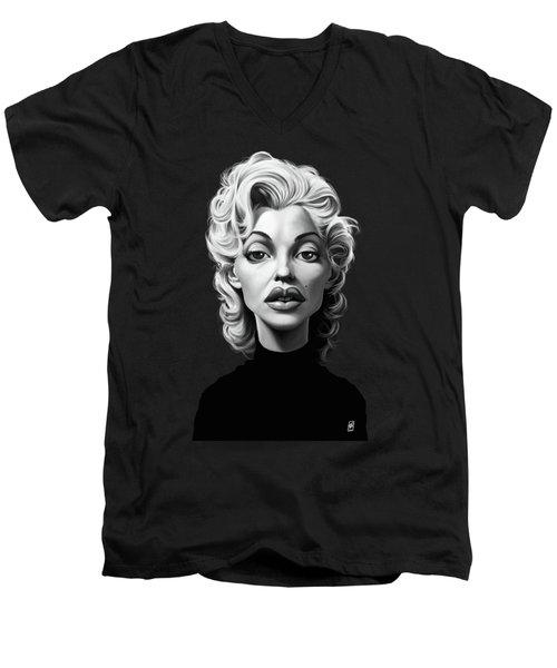 Celebrity Sunday - Marilyn Monroe Men's V-Neck T-Shirt by Rob Snow