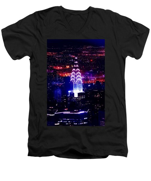 Chrysler Building At Night Men's V-Neck T-Shirt by Az Jackson