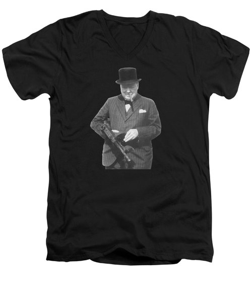 Churchill Posing With A Tommy Gun Men's V-Neck T-Shirt by War Is Hell Store