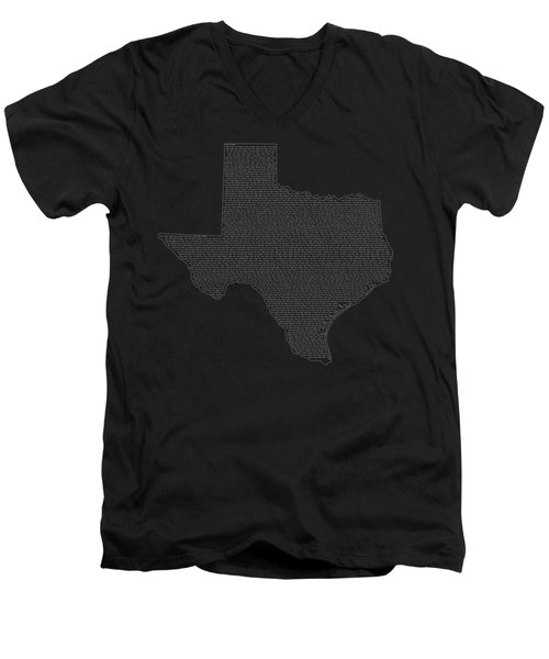 Cities And Towns In Texas White Men's V-Neck T-Shirt by Custom Home Fashions