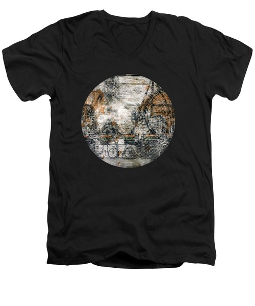 City-art Amsterdam Bicycles  Men's V-Neck T-Shirt by Melanie Viola