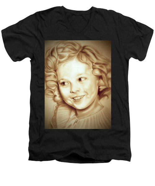 Classic Shirley Temple Men's V-Neck T-Shirt by Fred Larucci
