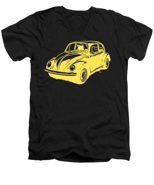 Classic Vw Beetle Tee Yellow Ink Men's V-Neck T-Shirt by Edward Fielding