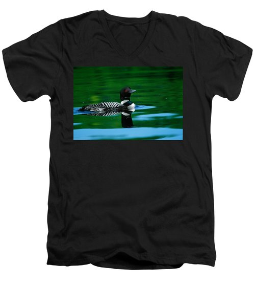 Common Loon In Water, Michigan, Usa Men's V-Neck T-Shirt by Panoramic Images