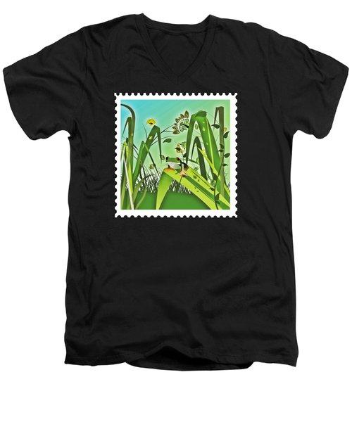 Cute Frog Camouflaged In The Garden Jungle Men's V-Neck T-Shirt by Elaine Plesser