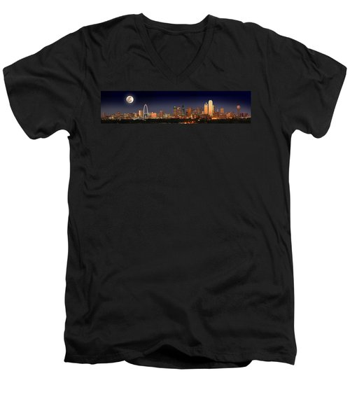 Dallas Skyline At Dusk Big Moon Night  Men's V-Neck T-Shirt by Jon Holiday