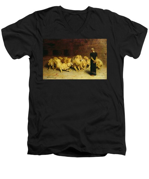 Daniel In The Lions Den Men's V-Neck T-Shirt by Briton Riviere