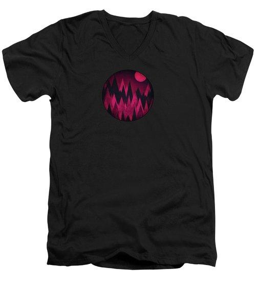 Dark Triangles - Peak Woods Abstract Grunge Mountains Design In Red Black Men's V-Neck T-Shirt by Philipp Rietz