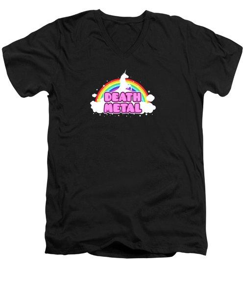 Death Metal Funny Unicorn  Rainbow Mosh Parody Design Men's V-Neck T-Shirt by Philipp Rietz