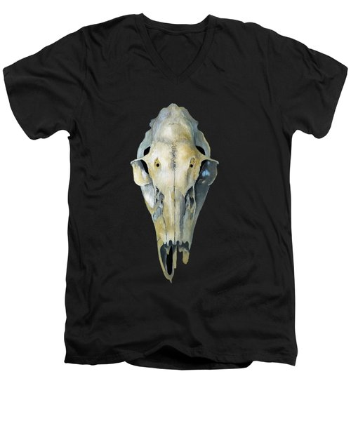 Deer Skull Aura Men's V-Neck T-Shirt by Catherine Twomey
