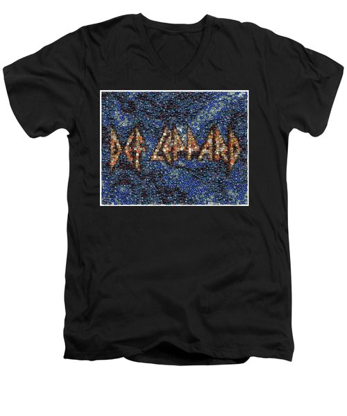 Def Leppard Albums Mosaic Men's V-Neck T-Shirt by Paul Van Scott