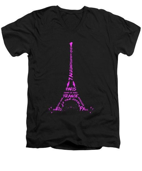 Digital-art Eiffel Tower Pink Men's V-Neck T-Shirt by Melanie Viola