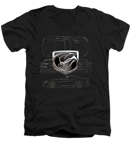 Dodge Viper  3 D  Badge Over Dodge Viper S R T 10 Silver Blueprint On Black Special Edition Men's V-Neck T-Shirt by Serge Averbukh