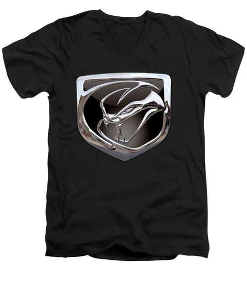 Dodge Viper - 3d Badge On Black Men's V-Neck T-Shirt by Serge Averbukh