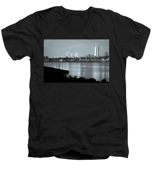 Downtown Tulsa Oklahoma - University Tower View - Black And White Men's V-Neck T-Shirt by Gregory Ballos