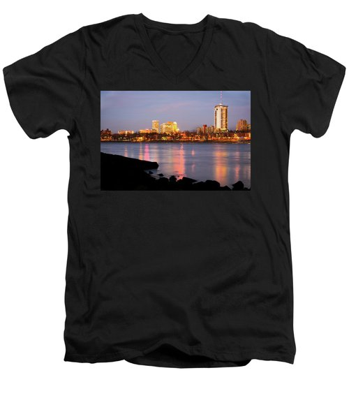 Downtown Tulsa Oklahoma - University Tower View Men's V-Neck T-Shirt by Gregory Ballos