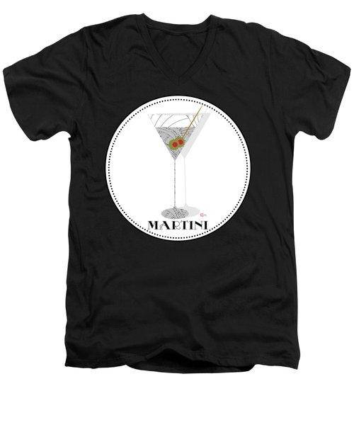 Dry Martini Cocktail Pop Art Deco Men's V-Neck T-Shirt by Cecely Bloom