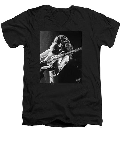 Eddie Van Halen - Black And White Men's V-Neck T-Shirt by Tom Carlton