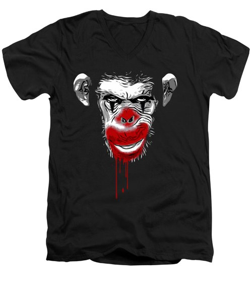 Evil Monkey Clown Men's V-Neck T-Shirt by Nicklas Gustafsson