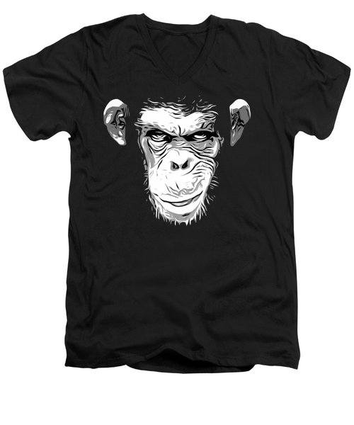 Evil Monkey Men's V-Neck T-Shirt by Nicklas Gustafsson