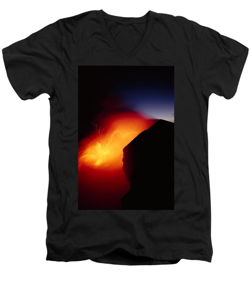 Explosion At Twilight Men's V-Neck T-Shirt by William Waterfall - Printscapes