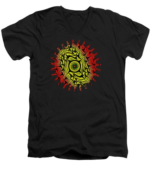 Fire Dragon Eye Men's V-Neck T-Shirt by Anastasiya Malakhova