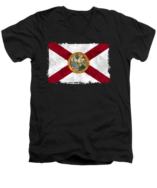 Florida Flag Men's V-Neck T-Shirt by World Art Prints And Designs