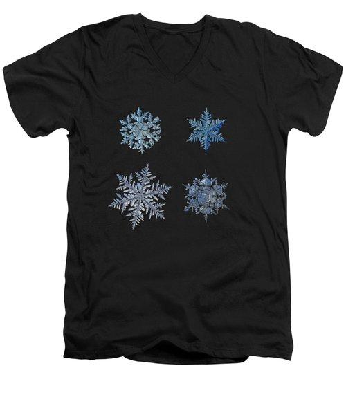 Four Snowflakes On Black Background Men's V-Neck T-Shirt by Alexey Kljatov