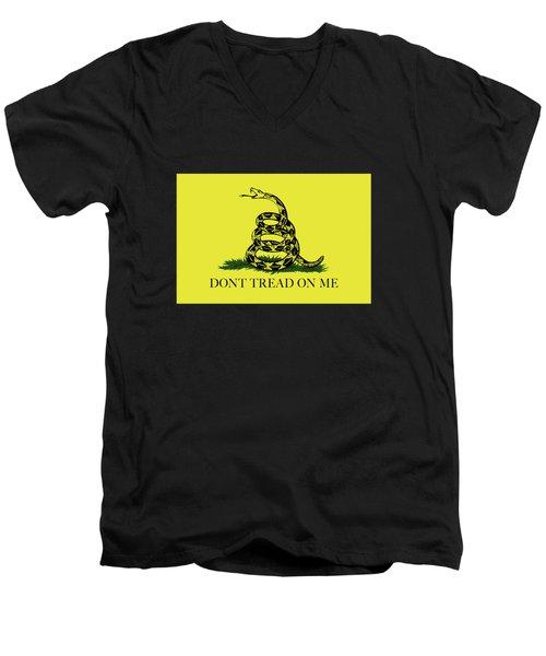 Gadsden Dont Tread On Me Flag Authentic Version Men's V-Neck T-Shirt by Bruce Stanfield