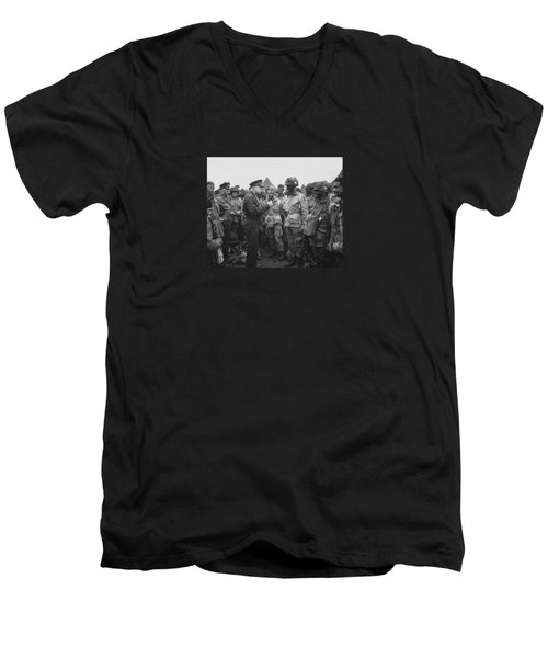 General Eisenhower On D-day  Men's V-Neck T-Shirt by War Is Hell Store