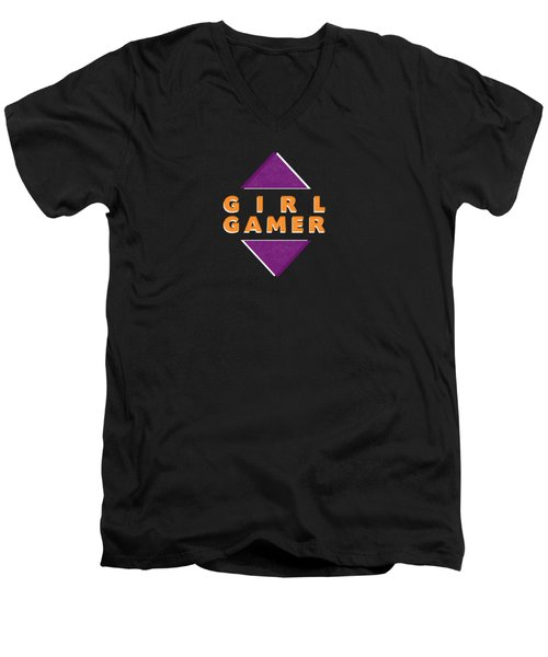 Girl Gamer Men's V-Neck T-Shirt by Linda Woods