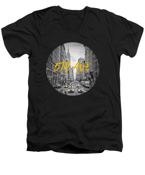 Graphic Art Nyc 5th Avenue Yellow Cabs Men's V-Neck T-Shirt by Melanie Viola