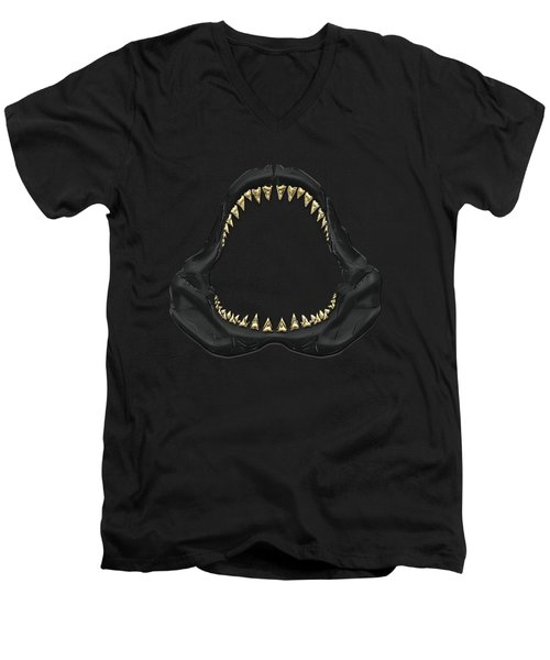 Great White Shark - Black Jaws With Gold Teeth On Black Canvas Men's V-Neck T-Shirt by Serge Averbukh