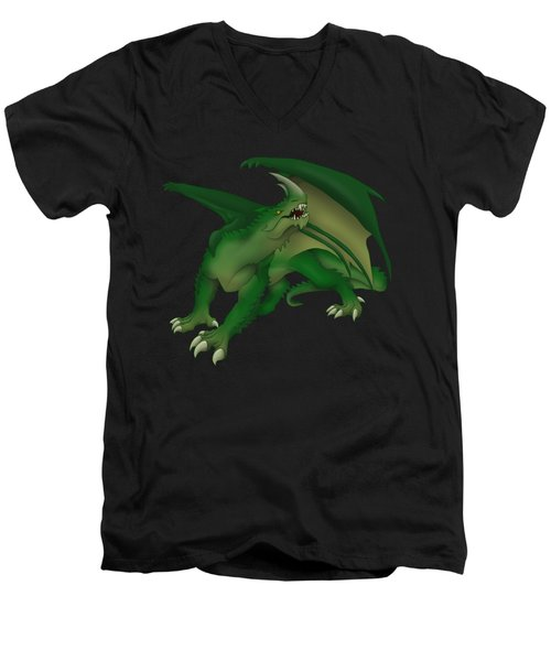Green Dragon Men's V-Neck T-Shirt by Gaynore Craps