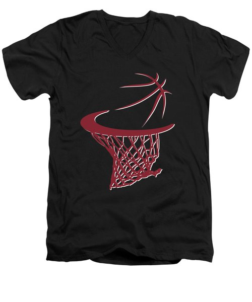 Heat Basketball Hoop Men's V-Neck T-Shirt by Joe Hamilton