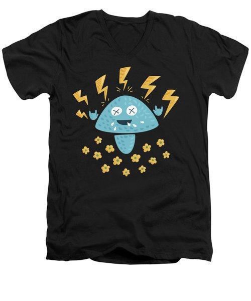 Heavy Metal Mushroom Men's V-Neck T-Shirt by Boriana Giormova