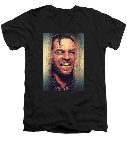 Here's Johnny - The Shining  Men's V-Neck T-Shirt by Taylan Apukovska