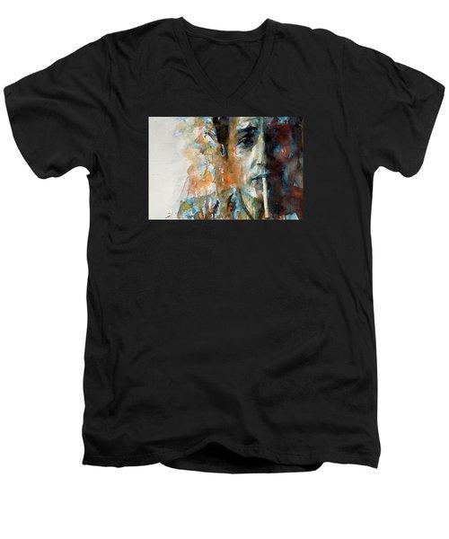Hey Mr Tambourine Man @ Full Composition Men's V-Neck T-Shirt by Paul Lovering