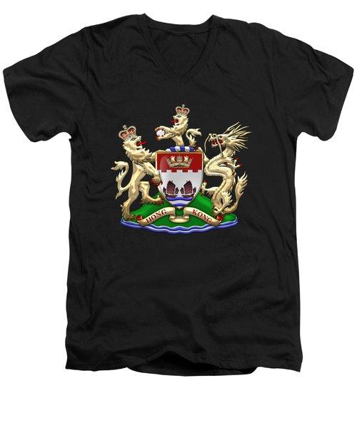 Hong Kong - 1959-1997 Coat Of Arms Over Black Leather  Men's V-Neck T-Shirt by Serge Averbukh