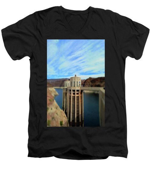 Hoover Dam Intake Towers No. 1 Men's V-Neck T-Shirt by Sandy Taylor