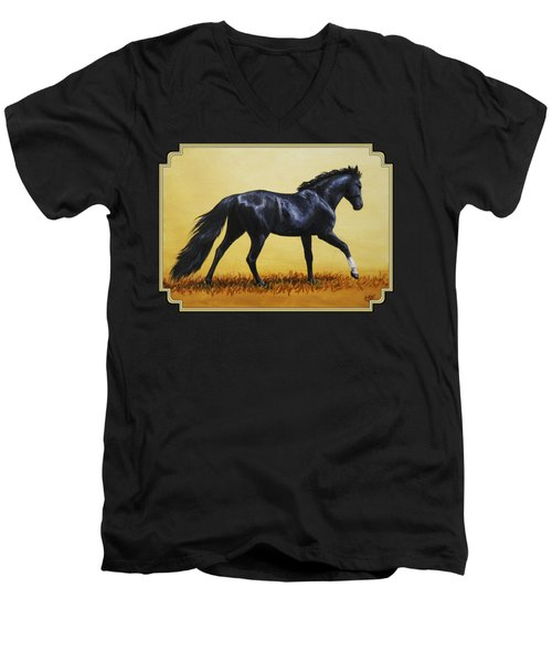 Horse Painting - Black Beauty Men's V-Neck T-Shirt by Crista Forest
