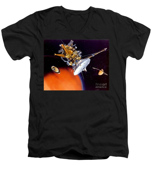 Huygens Probe Separating Men's V-Neck T-Shirt by NASA and Photo Researchers