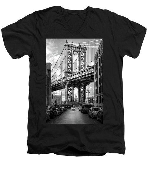 Iconic Manhattan Bw Men's V-Neck T-Shirt by Az Jackson