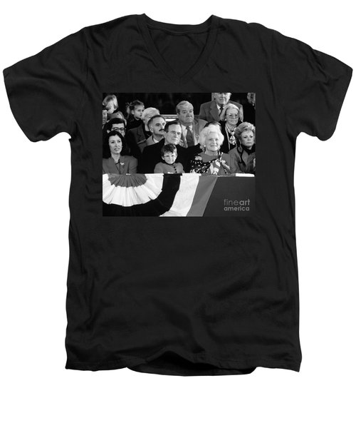 Inauguration Of George Bush Sr Men's V-Neck T-Shirt by H. Armstrong Roberts/ClassicStock