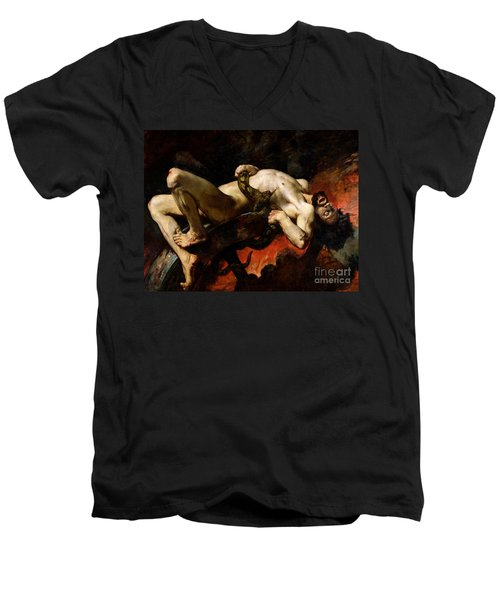 Ixion Thrown Into Hades Men's V-Neck T-Shirt by Jules Elie Delaunay